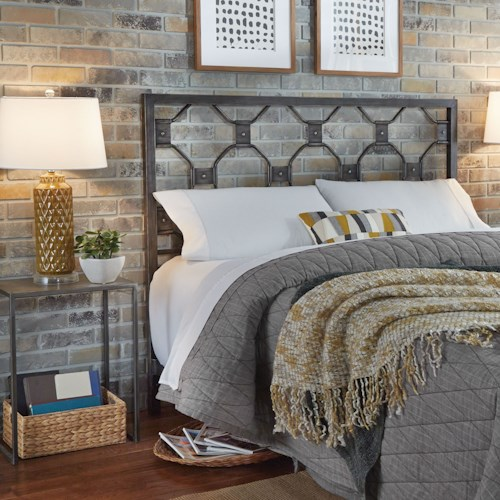 Fashion Bed Group Baxter Queen Baxter Metal Headboard with Geometric Octagonal Design