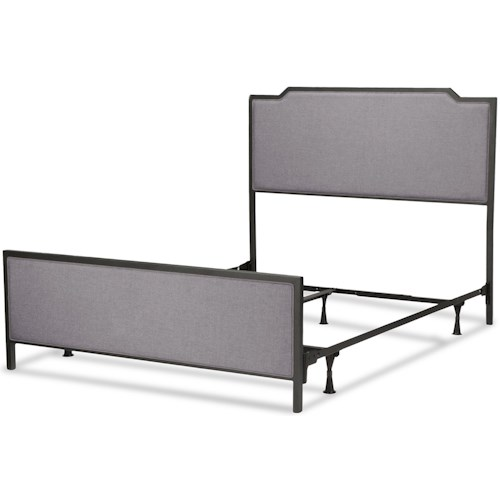 Fashion Bed Group Bayview Bayview Complete Bed with Metal Panels and Gray Dove Upholstery