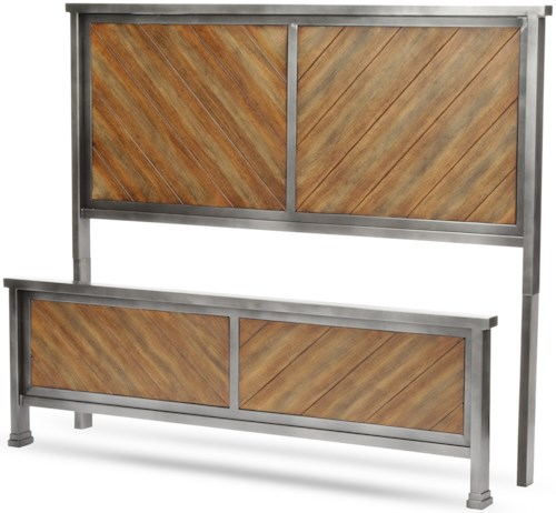 Fashion Bed Group Braden Braden California King Headboard and Footboard with Metal Panels and Reclaimed Wood Design