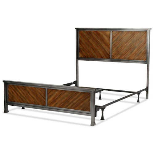 Fashion Bed Group Braden Braden Queen Bed with Metal Panels and Reclaimed Wood Design