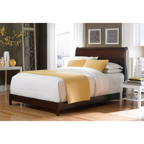 Fashion Bed Group Bridgeport Bridgeport Platform Complete Bed with Curved Sleigh Headboard with Espresso Finish