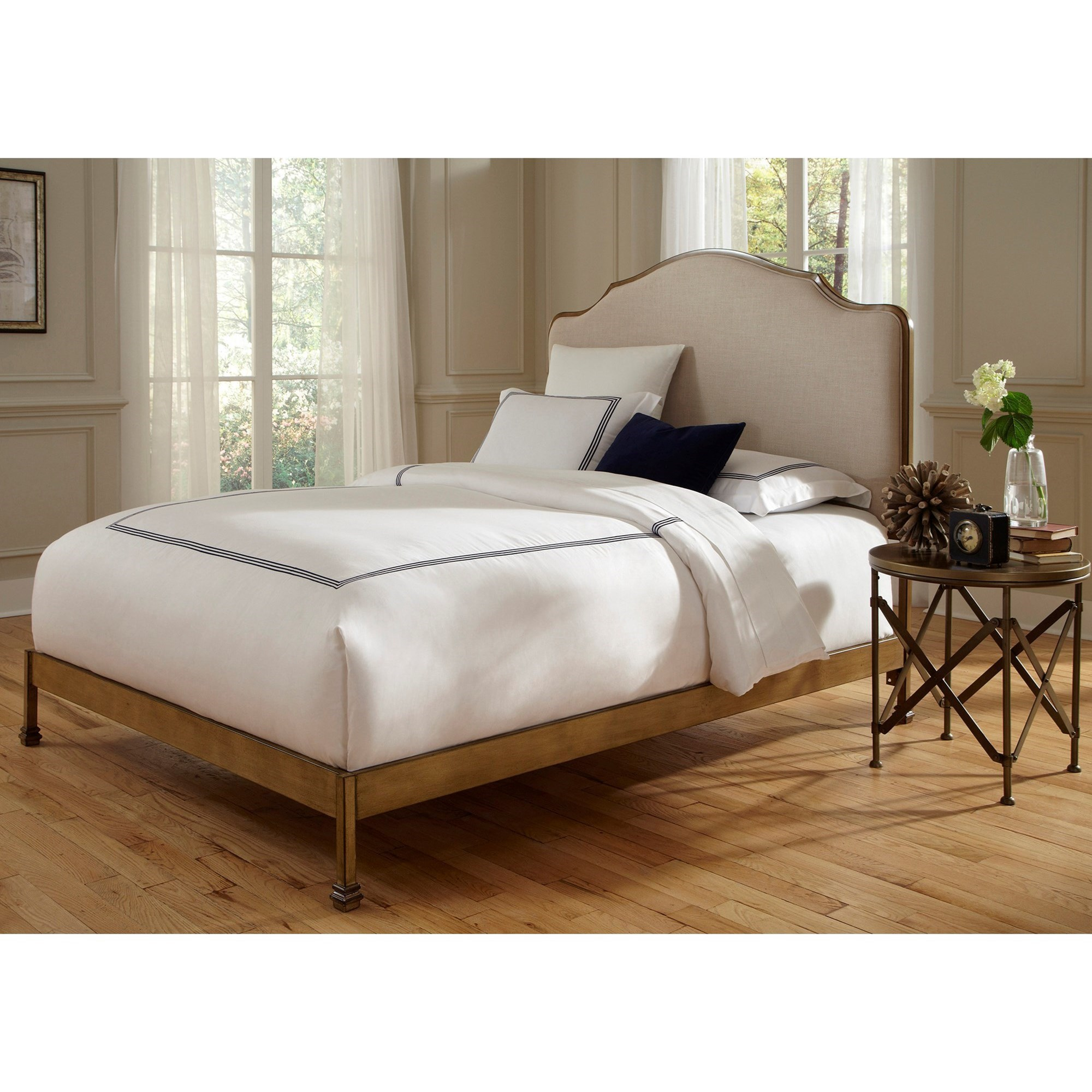 Fashion Bed Group Calvados Calvados Queen Bed With Metal Headboard And Sand  Colored Upholstery