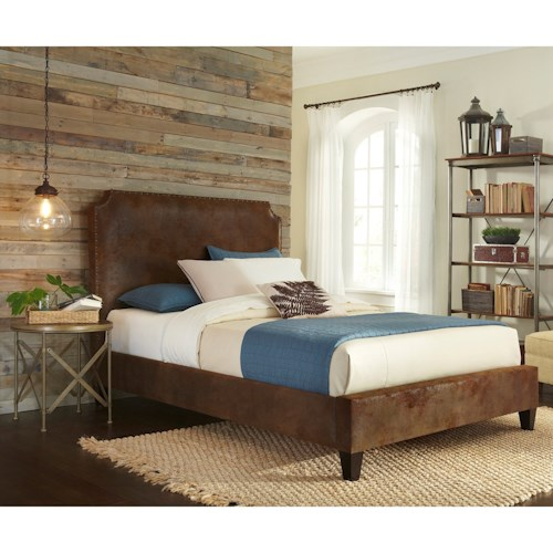 Fashion Bed Group Canterbury Canterbury King Bed with Bonded Leather Upholstered Exterior and Nail head Trim