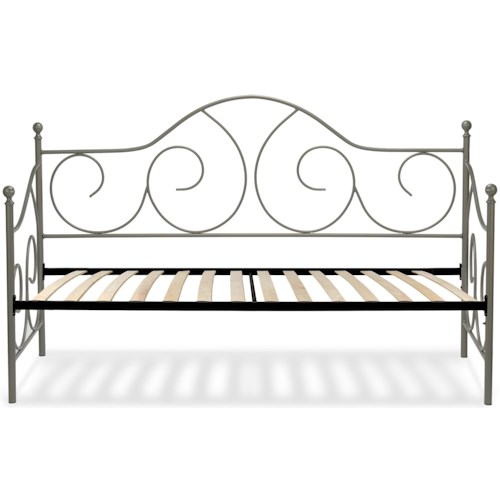Fashion Bed Group Caroline Twin Caroline Complete Metal Daybed with Sloping Back Panel and Euro Top Deck