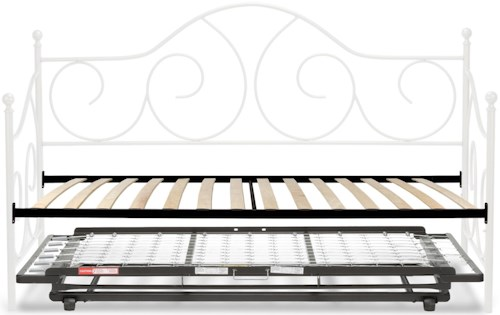 Fashion Bed Group Caroline Twin Caroline Complete Metal Daybed with Euro Top Deck and Trundle Bed Pop-Up Frame