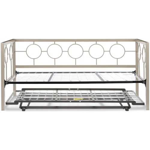 Fashion Bed Group Daybeds Twin Astoria Complete Metal Daybed with Link Spring and Trundle Bed Pop-Up Frame
