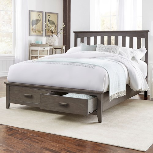 Fashion Bed Group Hampton Queen Hampton Storage Bed with Solid Wood Frame and and Footboard Drawers