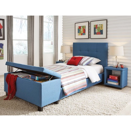 Fashion Bed Group Henley Twin Henley Storage Bedroom Group with Footboard Bench and Nightstands