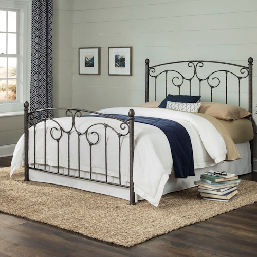 Fashion Bed Group Hinsdale Hinsdale Queen Metal Bed with Sloping Top Rails and Vertical Spindles