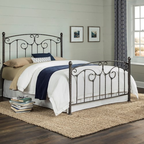 Fashion Bed Group Hinsdale Hinsdale Queen Complete Metal Bed with Sloping Top rails and Vertical Spindles