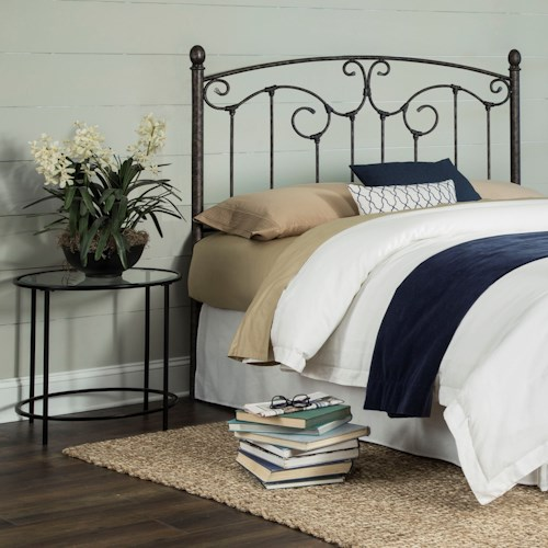 Fashion Bed Group Hinsdale Hinsdale California King Metal Headboard with Sloping Top Rail and Vertical Spindles