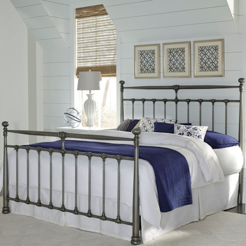 Fashion Bed Group Kensington Queen Kensington Complete Metal Bed with Stately Posts and Detailed Castings