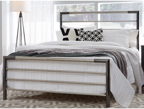 Fashion Bed Group Kenton Queen Kenton Metal Headboard and Footboard with Horizontal Bar Design