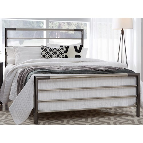 Fashion Bed Group Kenton Queen Kenton Complete Metal Bed with Horizontal Bar Design