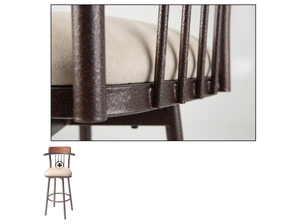 Fashion Bed Group Metal BarstoolsAugusta Wood and Metal Barstool
