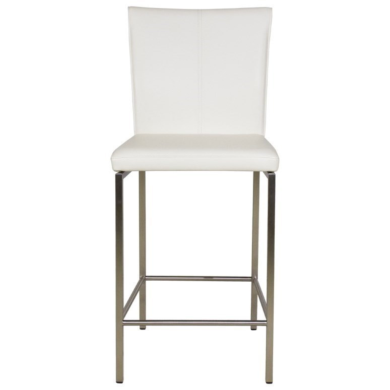 Metal Barstools Cheyenne Metal Counter Stool with Glacier Finished Upholstered Seat and Stainless Steel Frame Morris Home Bar Stools