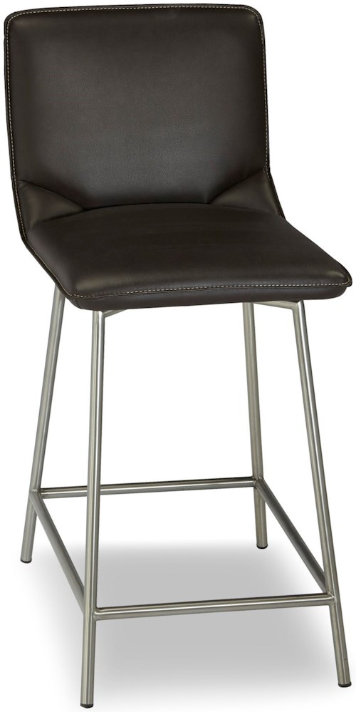 Fashion Bed Group Metal Barstools Pierre Metal Counter Stool with Cappuccino Upholstered Seat and Stainless Steel Frame