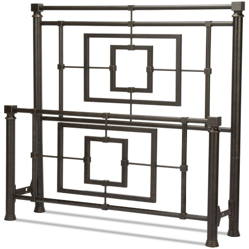 Fashion Bed Group Metal Beds King Sheridan Bed with Squared Metal Tubing and Geometric Design