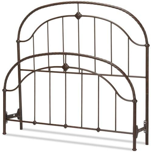 Fashion Bed Group Metal Beds California King Cascade Headboard and Footboard with Metal Panels and Twisted-Rope Rail
