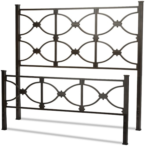 Fashion Bed Group Metal Beds Full Marlo Headboard and Footboard with Metal Panels and Squared Finial Posts