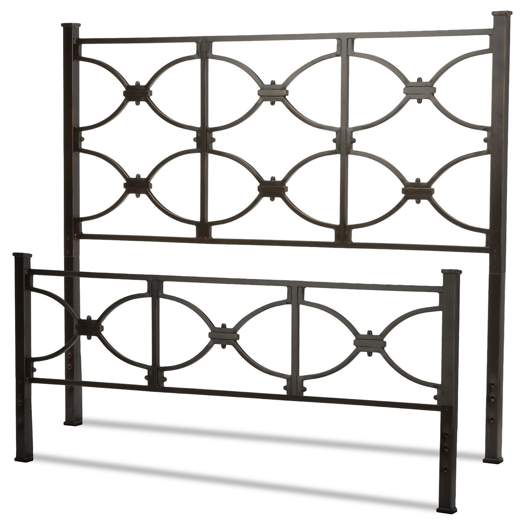 Fashion Bed Group Metal Beds Queen Marlo Headboard And Footboard With Metal Panels And Squared