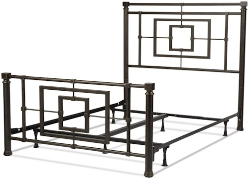 Fashion Bed Group Metal Beds California King Sheridan Complete Bed with Squared Metal Tubing and Geometric Design