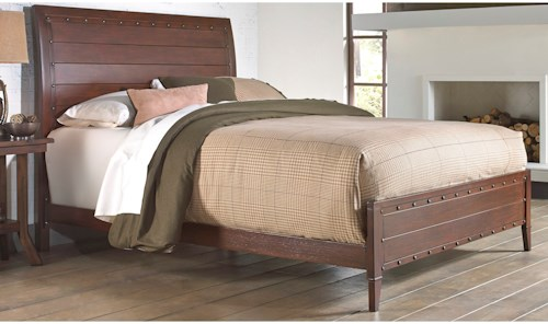 Fashion Bed Group Metal Beds California King Industrial Rockland Metal Ornamental Bed with Brass Studs