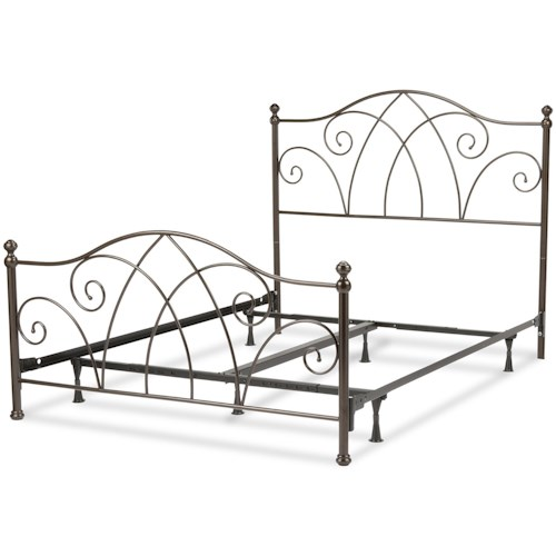 Fashion Bed Group Metal Beds California King Deland Complete Bed with Curved Grill Design and Finial Posts