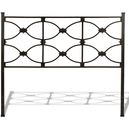 Fashion Bed Group Metal Beds Full Marlo Metal Headboard Panel with Squared Finial Posts