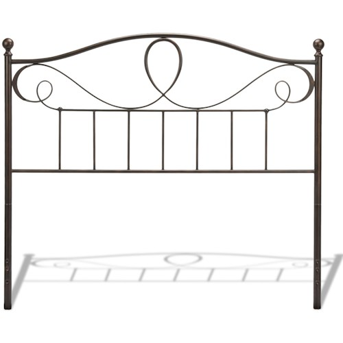 Fashion Bed Group Metal Beds Sylvania Metal Headboard with Curved Grill Design and Finial Posts with French Roast Finish