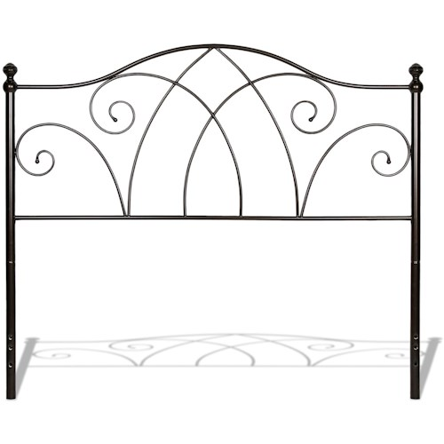 Fashion Bed Group Metal Beds California King Deland Metal Headboard with Curved Grill Design and Finial Posts