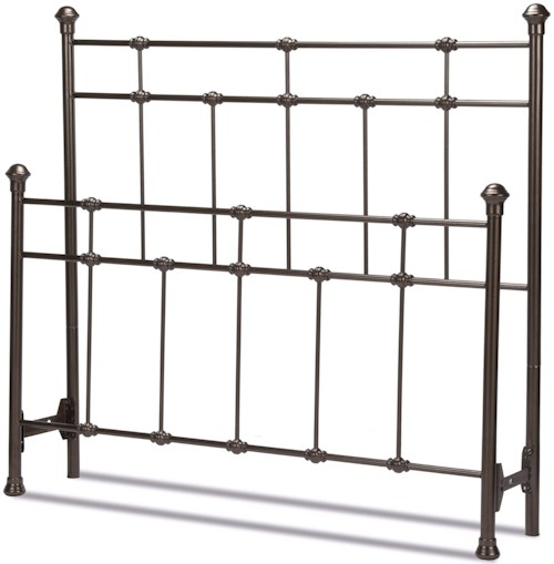 Fashion Bed Group Metal Beds Twin Dexter Headboard and Footboard with Decorative Metal Castings and Globe Finials