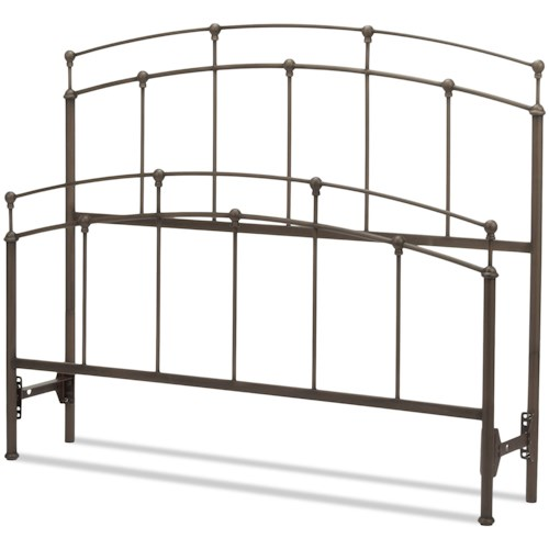 Fashion Bed Group Metal Beds California King Fenton Headboard and Footboard with Metal Duo Panels and Globe Finials