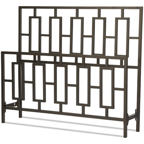 Fashion Bed Group Metal Beds California King Miami Headboard and Footboard with Squared Tube Metal Duo Panels and Geometric Design