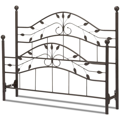 Fashion Bed Group Metal Beds Queen Sycamore Bed with Arched Metal Duo Panels and Leaf Pattern Design