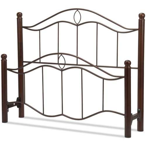 Fashion Bed Group Metal Beds King Cassidy Headboard and Footboard with Metal Panels and Dark Walnut Wood Posts