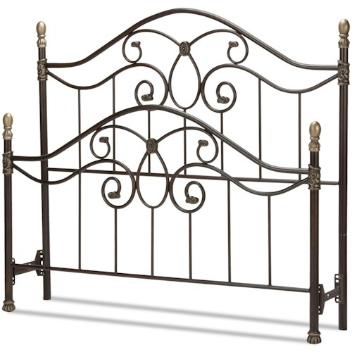 Fashion Bed Group Metal Beds California King Dynasty Bed with Arched Metal Duo Panels and Scalloped Finial Posts