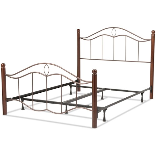 Fashion Bed Group Metal Beds King Transitional Cassidy Metal Ornamental Bed