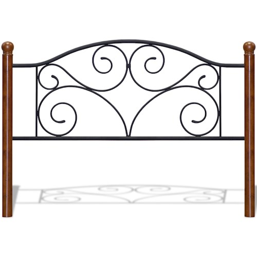 Fashion Bed Group Metal Beds California King Transitional Doral Steel and Wood Headboard