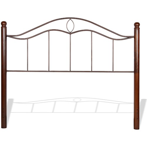 Fashion Bed Group Metal Beds Cal King Transitional Cassidy Metal Headboard