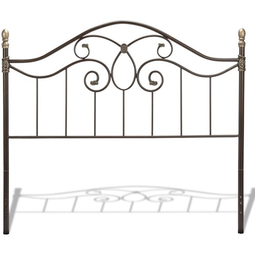 Fashion Bed Group Metal Beds California King Traditional Dynasty Metal Headboard