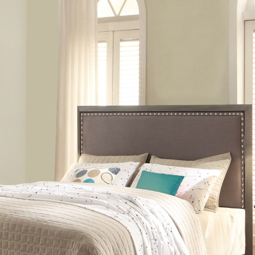 Fashion Bed Group Normandy Normandy King Headboard with Steel Gray Upholstery and Nail head Trim