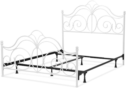 Fashion Bed Group Rhapsody Rhapsody Full Bed with Curved Grill Design and Finial Posts