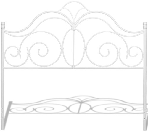 Fashion Bed Group Rhapsody Rhapsody Queen Metal Headboard with Curved Grill Design and Finial Posts