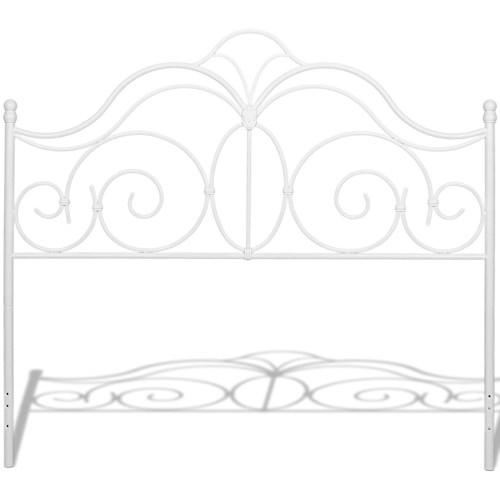Fashion Bed Group Rhapsody Rhapsody California King Metal Headboard with Curved Grill Design and Finial Posts