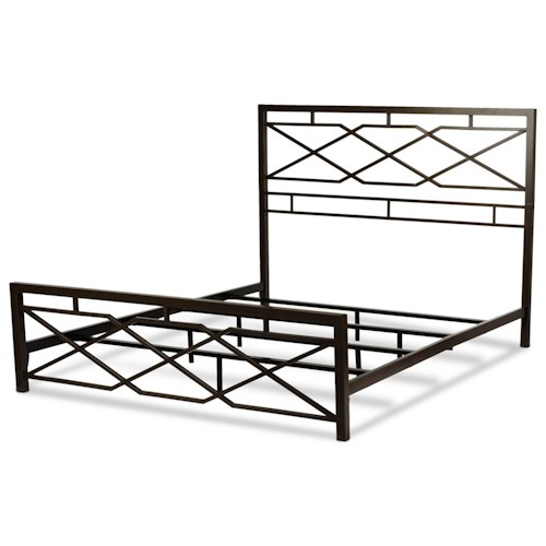 Fashion Bed Group Snap Beds Contemporary Queen Metal Snap Bed with Geometric Design