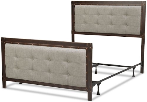 Fashion Bed Group Upholstered Headboards and Beds Queen Metal and Fabric Gotham Bed with Nailhead Trim