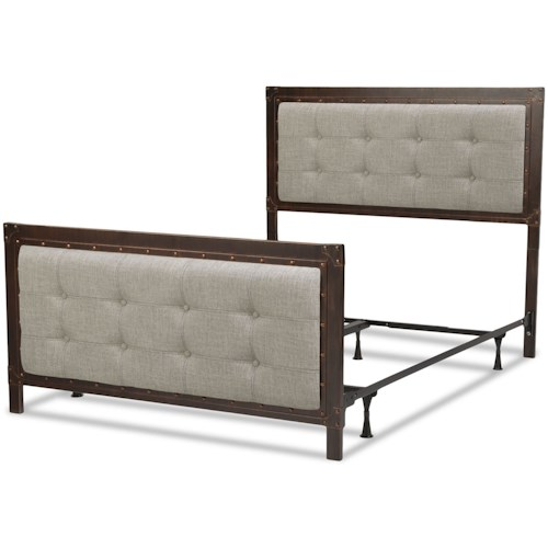 Fashion Bed Group Upholstered Headboards and Beds California King Metal and Fabric Gotham Bed with Nailhead Trim