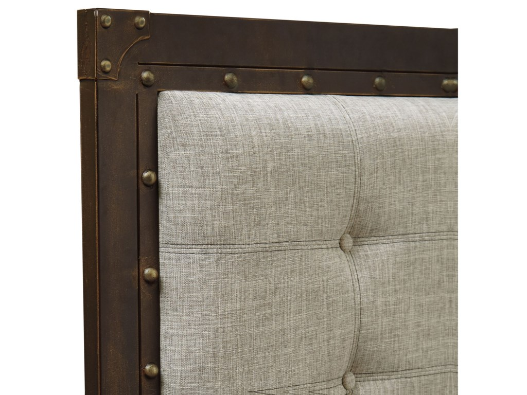 Fashion Bed Group Upholstered Headboards and BedsCal King Metal & Fabric Gotham Bed