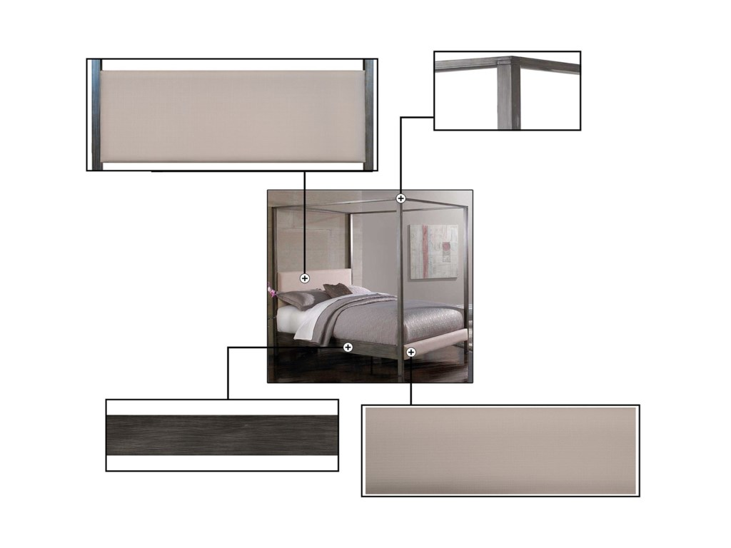 Fashion Bed Group Upholstered Headboards and BedsQueen Avalon Canopy Bed